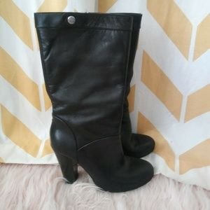 Nine West Size 6 Black Leather High Heel Boots